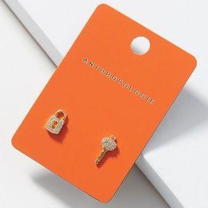 Anthropology Lock & Key Stud Earrings